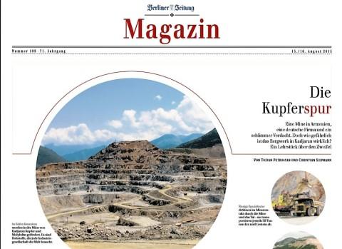 """Գերմանական """"CRONIMET"""" ընկերությունն ու Քաջարանի հանքավայրի կասկածելի վտանգները  «Բեռլիներ ցայտունգ» պարբերականի էջերում"""