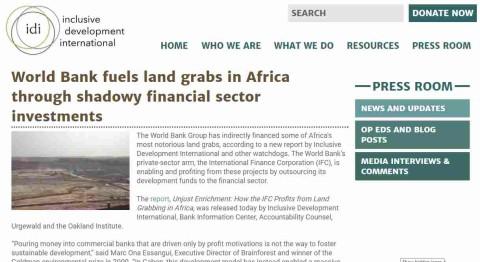 Զեկույց. ինչպես է Միջազգային ֆինանսական կորպորացիան շահում Աֆրիկայում հողերի բռնագրավումից